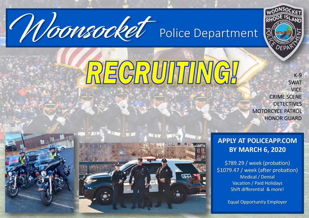 Woonsocket Police 2020 police officer recruitment drive