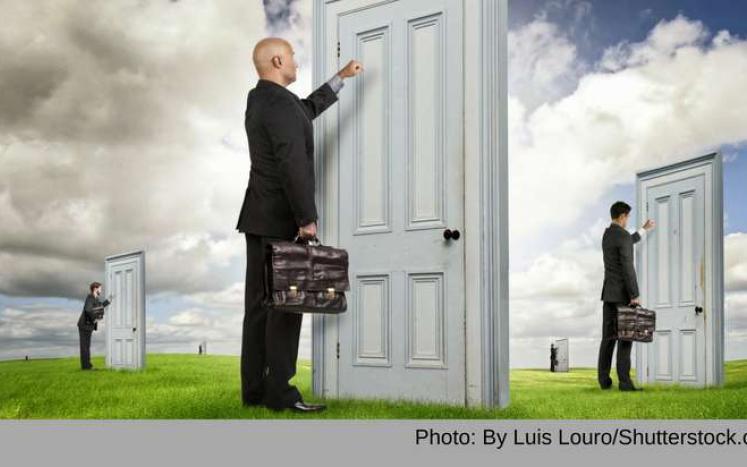 Salesmen knocking on doors